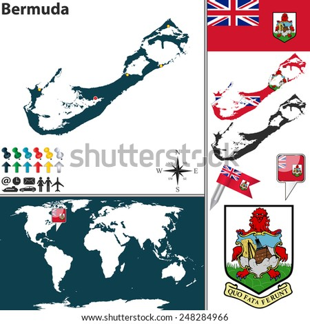 Vector map of Bermuda with coat of arms and location on world map - stock vector
