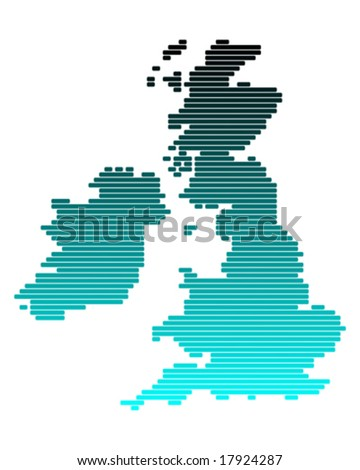 Vector map of British Isles in broad lines - stock vector