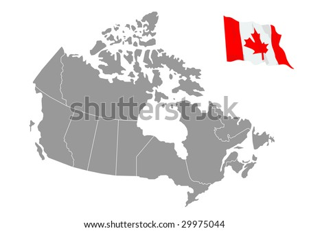 Vector map of Canada with flag - stock vector
