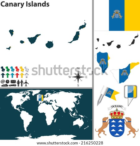 Vector map canary islands coat arms stock photo photo vector vector map of canary islands with coat of arms and location on world map gumiabroncs Images
