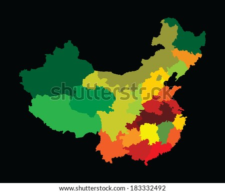 Vector map of China with regional borders isolated on black background. Colorful illustration.