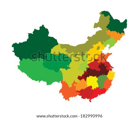 Vector map of China with regional borders isolated on white background. Colorful illustration. - stock vector