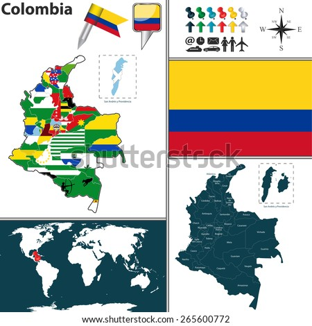 Vector map of Colombia with regions and flags