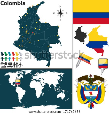 Vector map of Colombia with regions, coat of arms and location on world map - stock vector