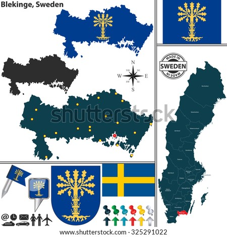 Vector Map County Halland Coat Arms Stock Vector - Sweden map location