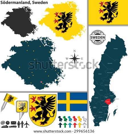 Vector map of county Sodermanland with coat of arms and location on Sweden map