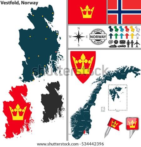 Vector Map County Troms Coat Arms Stock Vector - Norway map counties