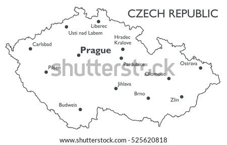 Vector Map Czech Republic Monochrome Contour Stock Vector 525620818