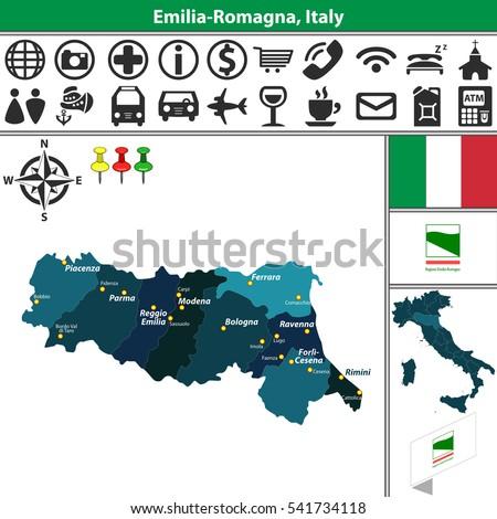 Vector Map Emilia Romagna Regions Location Stock Vector 541734118