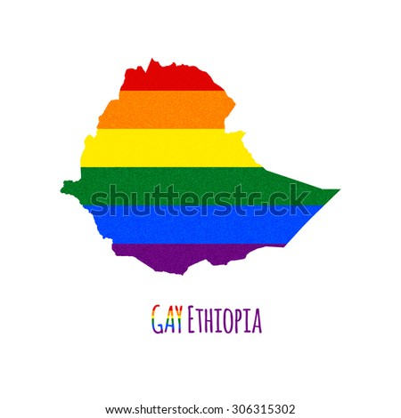 Vector map of Ethiopia in LGBT (lesbian, gay, bisexual, and transgender) flag colors and GAY Ethiopia caption on white background. Rainbow flag with denim textile texture. - stock vector