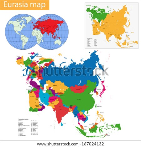 Vector map of Eurasia drawn with high detail and accuracy - stock vector