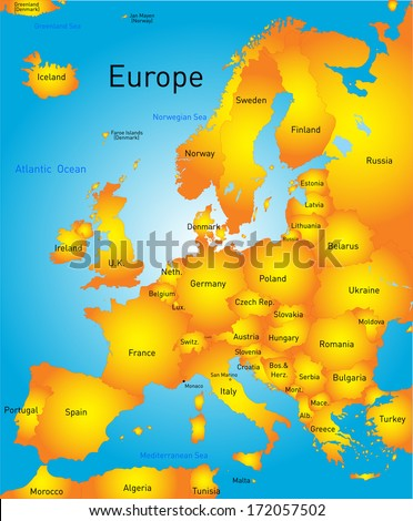 Vector map of Europe continent - stock vector