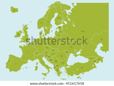 Vector map europe borders country codes stock vector 451617658 vector map of europe with borders and country codes gumiabroncs Images