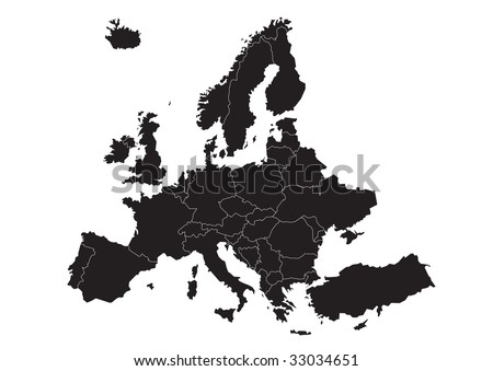 vector map of Europe with country borders - stock vector