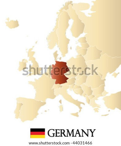 vector map of europe with marked GERMANY