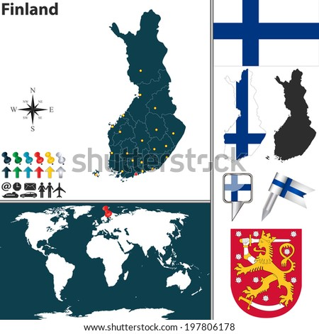 Vector map finland regions coat arms vectores en stock 197806178 vector map of finland with regions coat of arms and location on world map gumiabroncs Gallery
