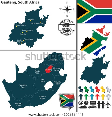 Vector Map Gauteng Province Location On Stock Photo Photo Vector