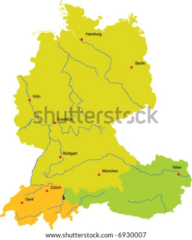 Vector map germany switzerland austria liechtenstein stock vector hd vector map of germany switzerland austria and liechtenstein with some major cities and gumiabroncs Image collections