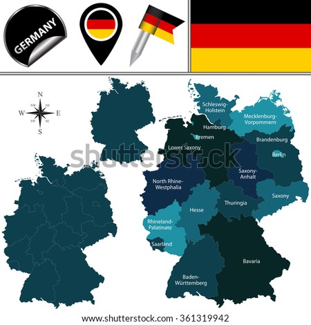 Vector map of Germany with named states and travel icons. - stock vector