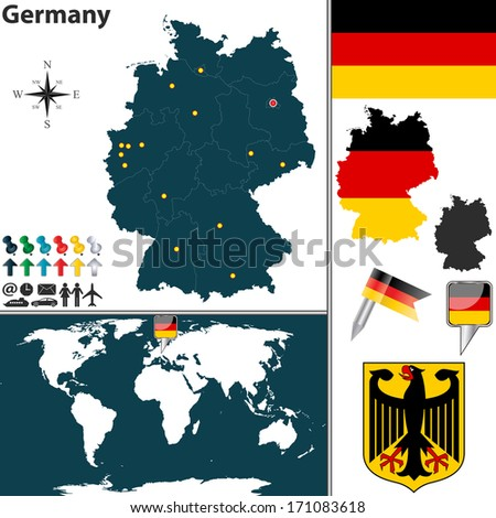 vector map of germany with regions coat of arms and location on world map