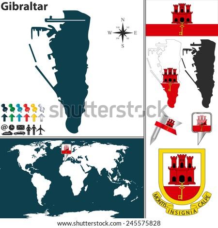 Vector Map Gibraltar Coat Arms Location Stock Vector 245575828