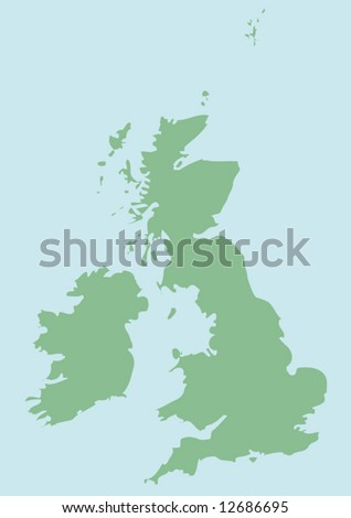 vector map of Great Britain and Ireland - stock vector