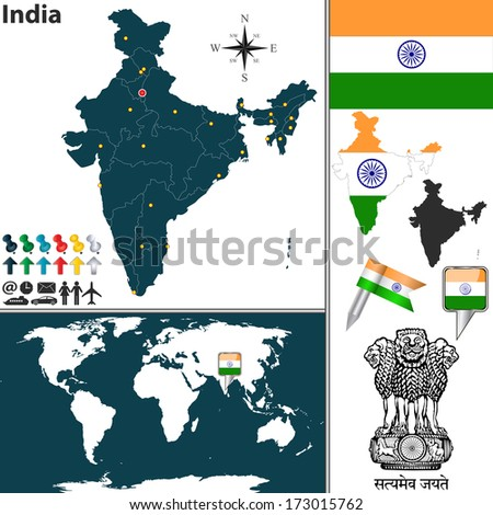 Vector map of India with regions, coat of arms and location on world map - stock vector