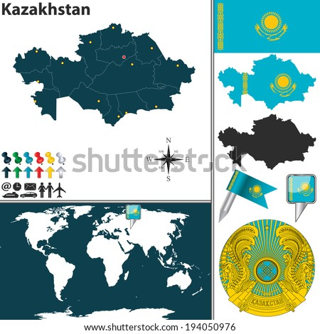 Vector map of Kazakhstan with regions, coat of arms and location on world map - stock vector