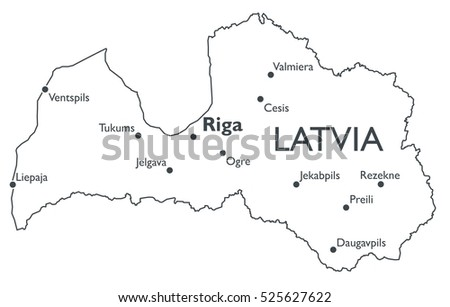 Vector Map Latvia Monochrome Contour Map Stock Vector 525627622