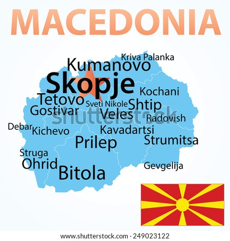 Vector map of Macedonia with largest cities. Carefully scaled text by city population. - stock vector