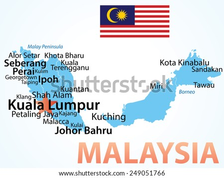 Vector Map of Malaysia with largest cities. Carefully scaled text by city population. - stock vector