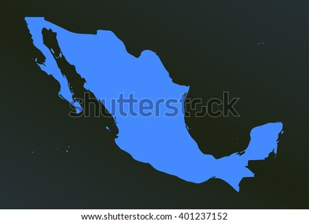 vector map of mexico in a modern style. blue country on a black background. vector illustration - stock vector