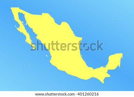 vector map of mexico in a modern style. yellow country on a blue background. vector illustration - stock vector