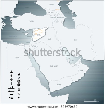 Vector Map of Middle East Syria with War Legend 3D Illustration EPS10 - stock vector