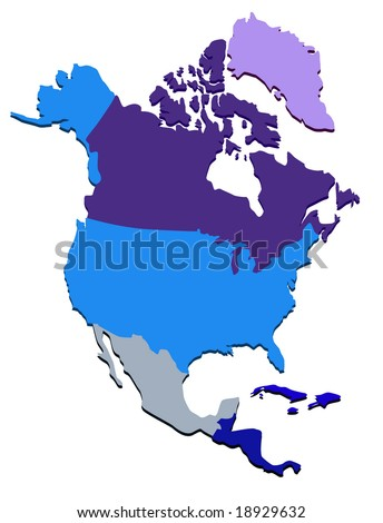 Vector map of North America - stock vector