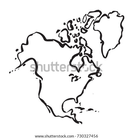 North America Map Outline Graphic Freehand Stock Vector - North america map drawing