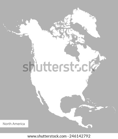 Vector Map of North America on gray background. White silhouette of the continent - stock vector