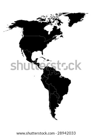 vector map of north and south america - stock vector