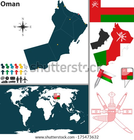 Vector map of Oman with regions, coat of arms and location on world map