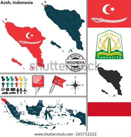Vector map of region Aceh with coat of arms and location on Indonesian map