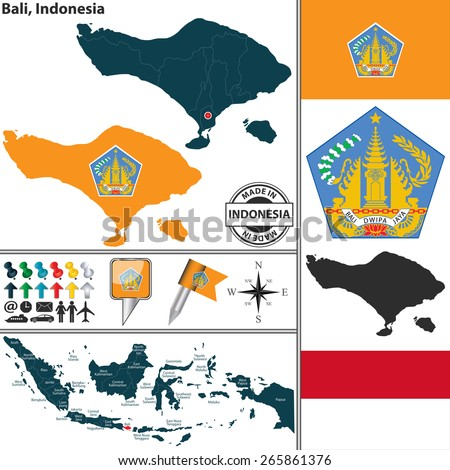 Vector map of region Bali with coat of arms and location on Indonesian map