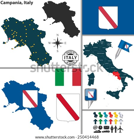 Vector Map Region Campania Coat Arms Stock Vector HD Royalty Free