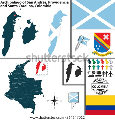Vector map of region of Archipelago of San Andres, Providencia and Santa Catalina with coat of arms and location on Colombian map - stock vector