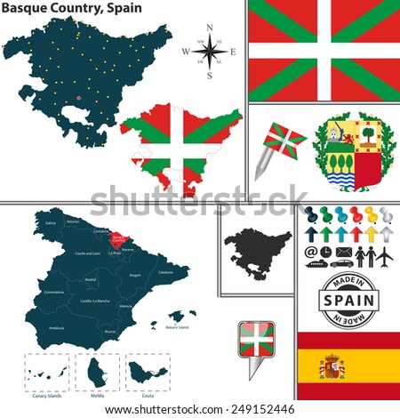 Vector map of region of Basque Country with coat of arms and location on Spanish map