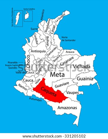 Vector map of region of Caqueta, Colombia editable vector map.  Administrative divisions of Colombia editable map. - stock vector