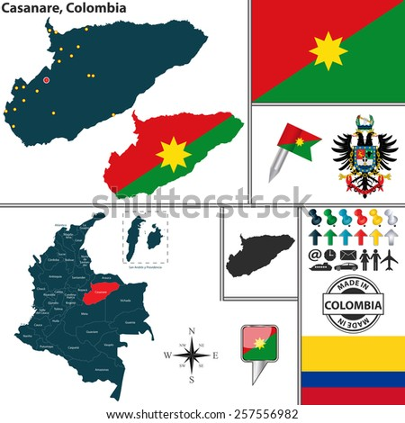 Vector map of region of Casanare with coat of arms and location on Colombian map - stock vector