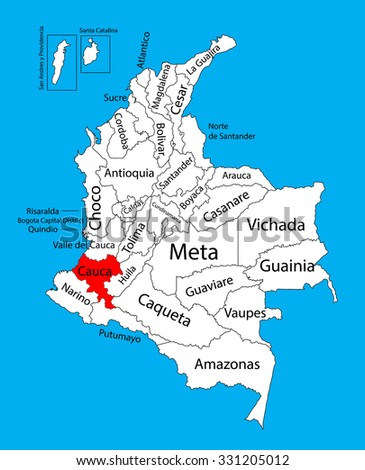 Vector map of region of Cauca, Colombia editable vector map.  Administrative divisions of Colombia editable map. - stock vector