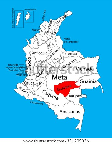 Vector map of region of Guaviare, Colombia editable vector map.  Administrative divisions of Colombia editable map. - stock vector