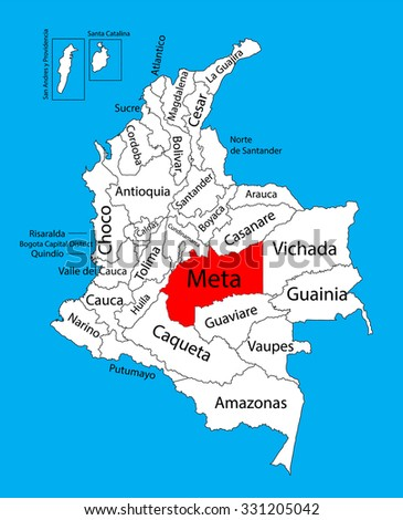 Vector map of region of Meta, Colombia editable vector map.  Administrative divisions of Colombia editable map. - stock vector