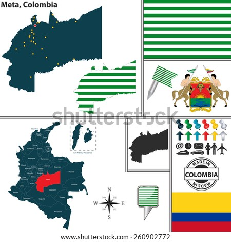 Vector map of region of Meta with coat of arms and location on Colombian map - stock vector